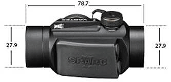 SPARC II 2 MOA Bright Red Dot Dimensions (in mm)